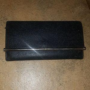 Henri Bendel black leather wallet